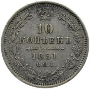 Rosja, Mikołaj I, 10 kopiejek 1851 PA, Petersburg