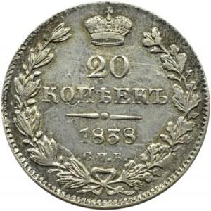 Rosja, Mikołaj I, 20 kopiejek 1838 HG, Petersburg