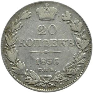 Rosja, Mikołaj I, 20 kopiejek 1835 HG, Petersburg
