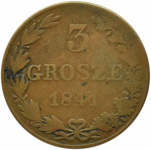Mikołaj I, 3 grosze 1841 M.W., Warszawa, rzadkie