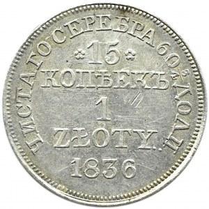 Mikołaj I, 15 kopiejek/1 złoty 1836 MW, Warszawa, z obustronnym