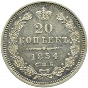 Rosja, Mikołaj I, 20 kopiejek 1854 HI, Petersburg