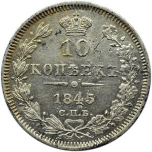 Rosja, Mikołaj I, 10 kopiejek 1845 KB, Petersburg