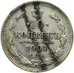 Rosja, Mikołaj II, 10 kopiejek 1901 AP, Petersburg, rzadszy mincerz