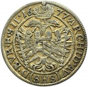 Śląsk, Leopold, 6 krajcarów 1677, Wrocław, piękne!