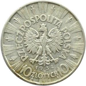 Polska, II RP, Józef Piłsudski, 10 złotych 1934, Warszawa, rzadszy rocznik