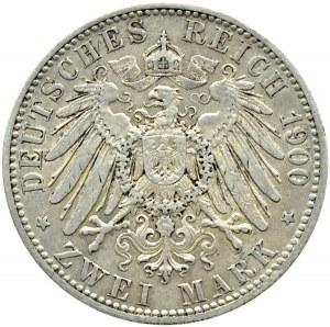 Niemcy, Oldenburg, Fryderyk August, 2 marki 1900 A, Berlin, bardzo rzadkie