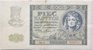 Polska, Generalna Gubernia, 5 złotych 1940, seria A, rzadkie