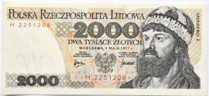 Polska, PRL, 2000 złotych 1977, seria H, Warszawa, UNC