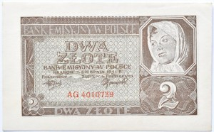 Polska, Generalna Gubernia, 2 złote 1941, seria AG, UNC-
