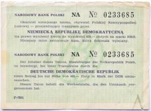 Polska, PRL, bon upoważniający do zakupu marek NRD, seria NA