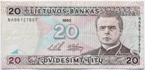 Litwa, Maironis, 20 litów 1993, seria NAB