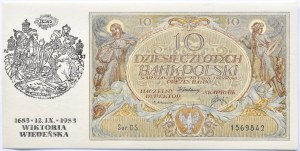 Polska, II RP, 10 złotych 1929, seria DS, okolicznościowy nadruk, 300 lat bitwy pod Wiedniem