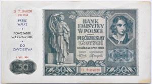 Polska, Generalna Gubernia, 50 złotych 1941, seria D, okolicznościowy nadruk, 50 lat Powstania Warszawskiego