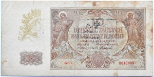 Polska, Generalna Gubernia, 10 złotych 1940, seria L, okolicznościowy nadruk, Klub Żołnierza