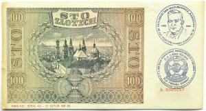 Polska, Generalna Gubernia, 100 złotych 1941, seria A, okolicznościowy nadruk, Powstanie Warszawskie
