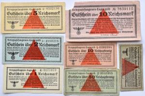 Uniwersalne Bony Obozowe, Kriegsgefangenen- Lagergeld, 7 sztuk KOMPLET