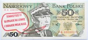 Polska, PRL, 50 złotych 1988, seria HA, UNC, nadruk wyborczy