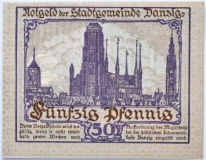 Wolne Miasto Gdańsk, 50 fenigów (pfennig) 1919, UNC