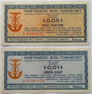 Polska, PRL, Baltona, lot bonów 1 i 5 centów 1973, seria A