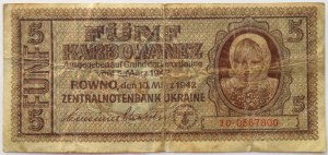 Ukraina, 5 karbowańców 1942, seria 10