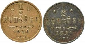 Rosja, Mikołaj II, lot 1/2 kopiejki 1910-1911 S.P.B., Petersburg