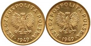 Polska, RP, 5 groszy 1949, dwa wspaniałe rewelacyjne egzemplarze