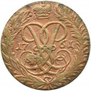 Rosja, Elżbieta, 2 kopiejki 1761, Krasnyj Dwor, wybita na małym krążku