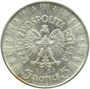 Polska, II RP, Józef Piłsudski, 5 złotych 1936, Warszawa