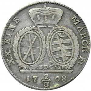 Niemcy, Saksonia, Fryderyk August II, 2/3 talara (gulden) 1768 EDC, Drezno