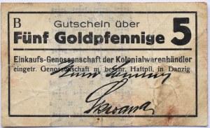 Danzig, Gdańsk, Einkaufs-Genossenschaft, 5 goldpfennig, seria B