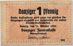 Danzig, Gdańsk, 1 pfennig 1923, jednostronny