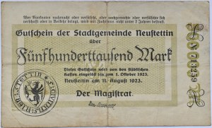 Neustettin, Szczecinek, 500 000 marek 1923, bez numeru, rzadkie