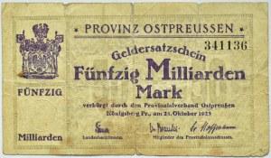 Konigsberg, Królewiec, 50 miliardów marek 1923, numer 341136