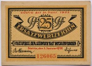 Stettin, Szczecin, 25 pfennig 1922, UNC