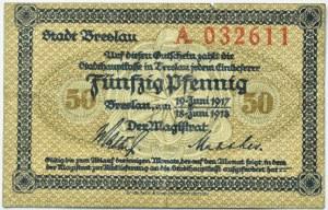 Breslau, Wrocław, 50 pfennig 1917, seria A, niski numer