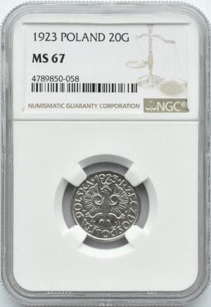 Polska, II RP, 20 groszy 1923, NGC MS67, okazowy egzemplarz