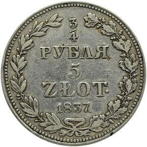 Mikołaj I, 3/4 rubla/5 złotych 1837 MW, Warszawa