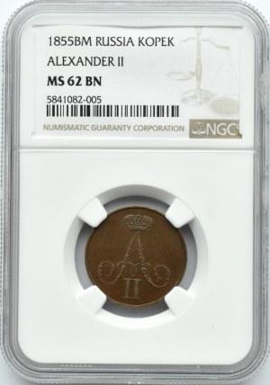 Aleksander II, 1 kopiejka 1855 B.M., Warszawa, NGC MS62BN
