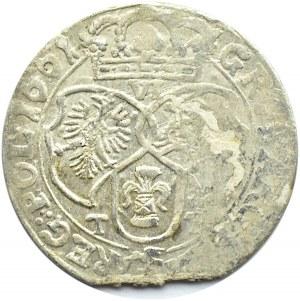 Jan II Kazimierz, szóstak 1661 TT, Kraków, wygięte tarcze