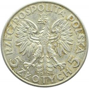 Polska, II RP, Głowa Kobiety, 5 złotych 1934, Warszawa