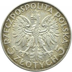 Polska, II RP, Głowa kobiety, 5 złotych 1932 bez znaku mennicy, Warszawa