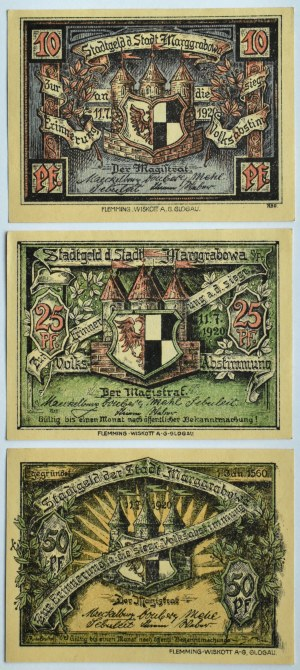 Oletzko, Olecko, lot 3 notgeldów 10-50 pfennig, UNC