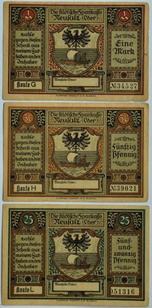 Neusalz, Nowa Sól, lot 3 notgeldów 25 pfennigów - 1 marki