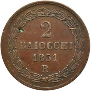 Watykan, Pius IX, 2 baiocchi 1851 R, Rzym