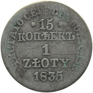Mikołaj I, 15 kopiejek/1 złoty 1835 MW, Warszawa