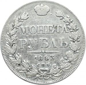 Rosja, Mikołaj I, 1 rubel 1843 A Cz, Petersburg
