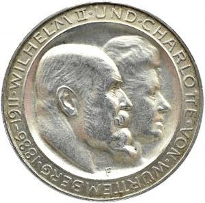 Niemcy, Wirtembergia, Wilhelm i Charlotte, 3 marki 1911 F, Stuttgart