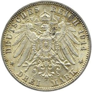 Niemcy, Wirtembergia, Wilhelm, 3 marki 1914 F, Stuttgart