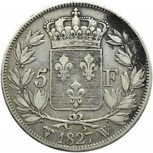 Francja, Karol X, 5 franków 1827 W, Lille